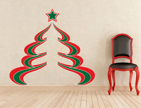 Abstract christmas tree wall decal decor removable winter