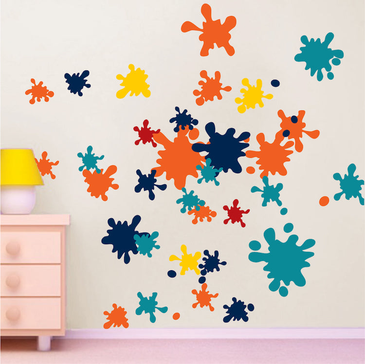 Ink Splash Wall Decal Decor Kids Room Colors Wall Vinyl Paint Removable  Kids Wallpaper Decal, d30