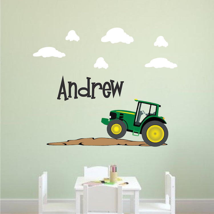 Custom John Deere Kids Custom Name Tractor Wall Decal Personalized Wall Bedroom Decor E06
