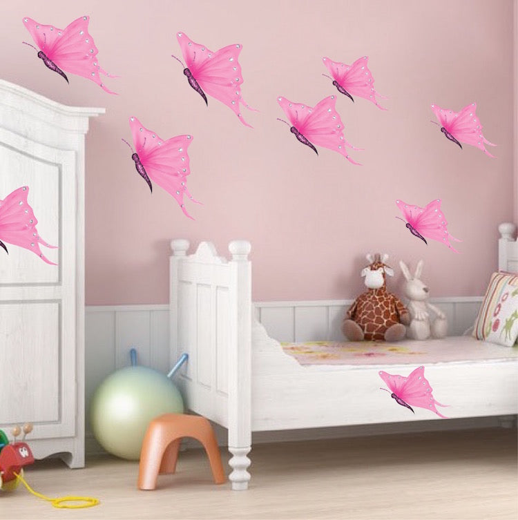 Stupendous Pink Butterflies Wall Decal Girls Room Wall Art Sticker Removable Butterfly Girl Bedroom Decor N64 Home Interior And Landscaping Ologienasavecom