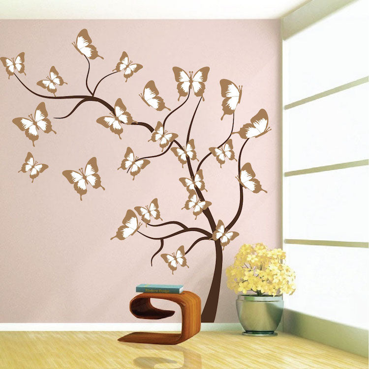 cc9cfdff28 ... n57 Butterfly Tree Wall Decal Trees Decor Butterflies Leaves Wall  Sticker Colors Wall Decal, ...