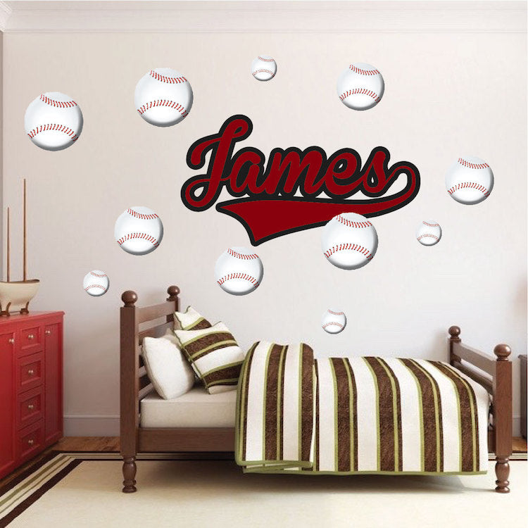 Baseball Wall Decal Sports Decor Boys Bedroom Wall Art Baseballs Removable  Wall Stickers, n16
