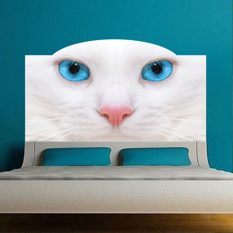 . Cat Headboard Wall Decal Bedroom Decor for Apartment Dorms Removable  Headboard Art  c47