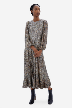 Emmy Speckle Persian Cat Sequin Long-sleeved Midi Dress