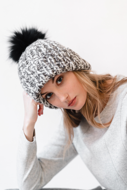 Hand Knit Beanie with Fur Pom Pom