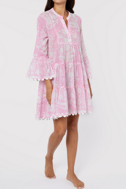 Flared Sleeve Dress In Palladio Block Print With Slip
