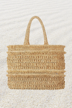 Gold Coast Fringed Raffia Tote