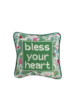Bless Your Heart Needlepoint Pillow