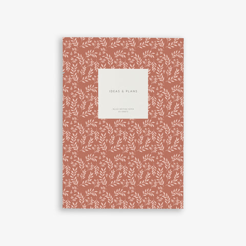 MEDIUM NOTEBOOK LEAVES TERRACOTTA