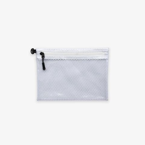 POUCH W. ZIP LOCK, WHITE // SMALL