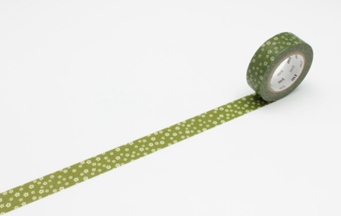 MASKING TAPE PATTERN SMALL FLOWERS GREEN