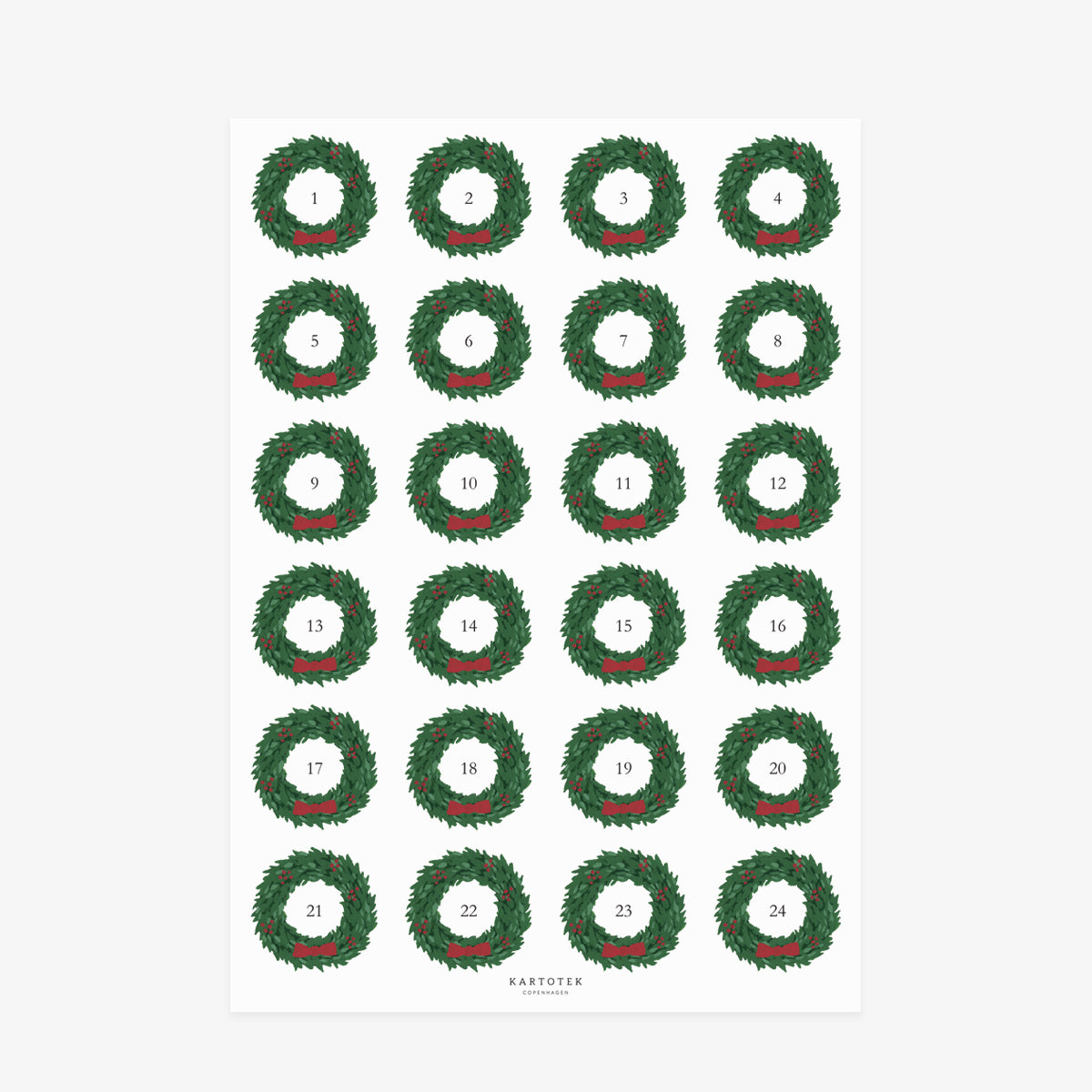 STICKERS // CHRISTMAS ADVENT NUMBERS 1-24