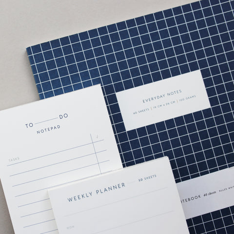LARGE NOTEBOOK CHECK DARK BLUE