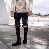 Skinny Ripped Jeans (Men's) Black or Denim