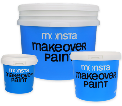 Three buckets of Monsta Paint