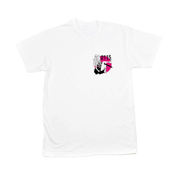 0115 Records - T-Shirts - 0115 x Acky Bright T-shirt (White)