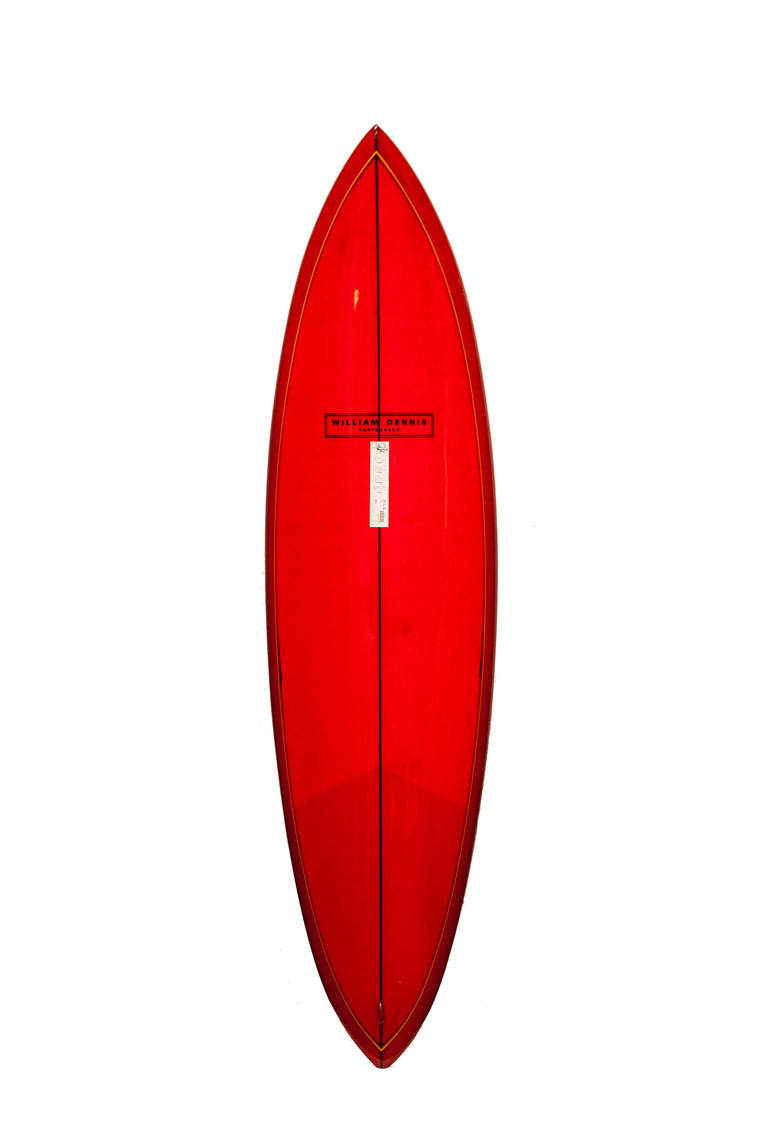 "William Dennis Custom ""Retro Pin Tail"" Longboard Surfboard"