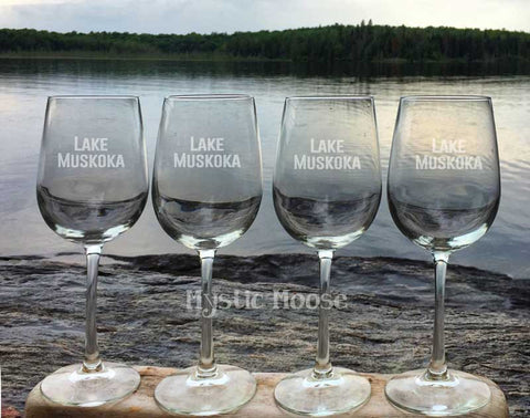 "Customized ""Lake Name"" Wine Glasses - Stemmed"