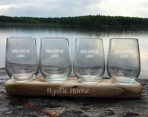 "Customized ""Lake Name"" Wine Glasses - Stemless"