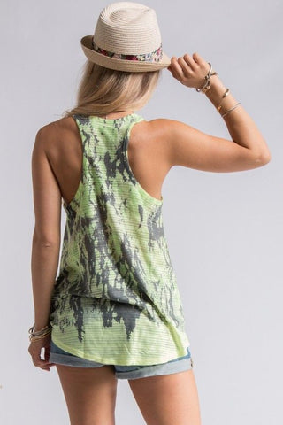 Neon Green Abstract Tank Top