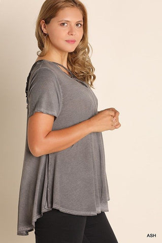 Ash Criss Cross Short Sleeve Top - Plus