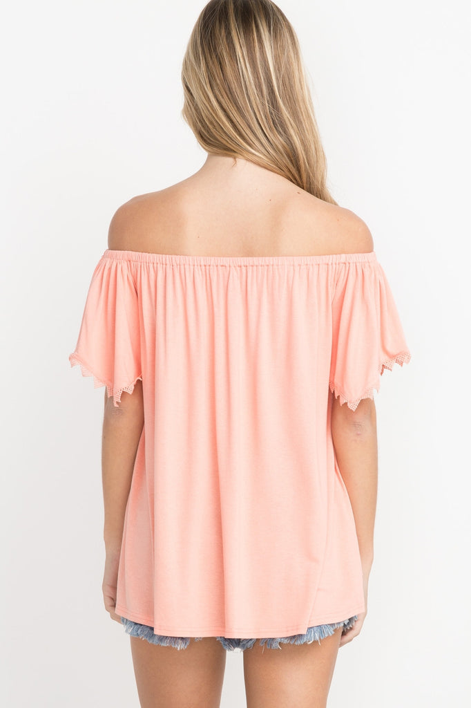 Apricot lace trimmed off the shoulder top.