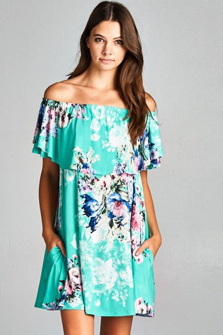 Aqua Floral Off the Shoulder Dress