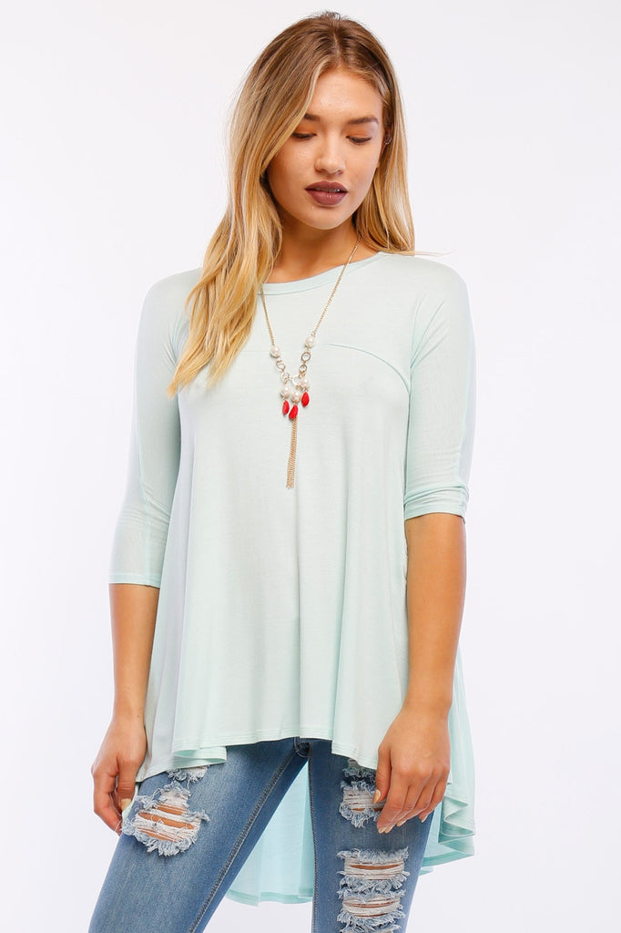 Mint. 3/4 sleeve round neck high low knit baby doll tunic top.