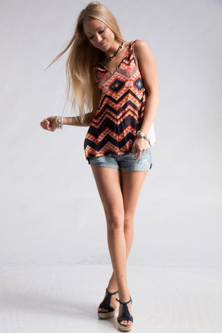 Aztec Print Sleeveless Top