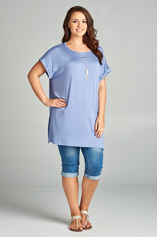 Solid Rayon Jersey Tunic Top with High Rounded Neck, Short Tab Sleeves, and High Side Slit Detail.