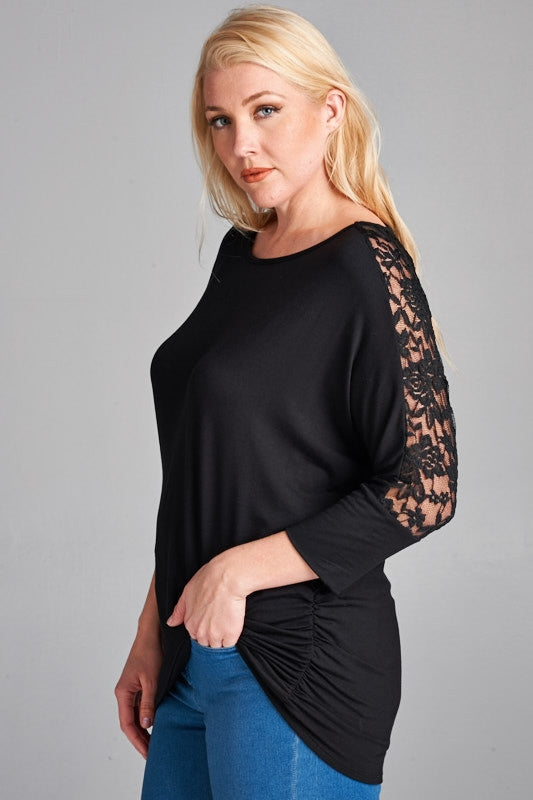 "Black 3/4"" Lace Detail Top"