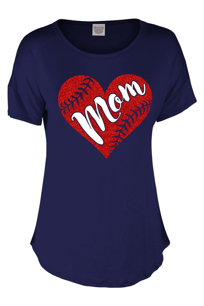 Short Sleeve Mom Baseball Shirt. Navy with a red glitter baseball in the shape of a heart.