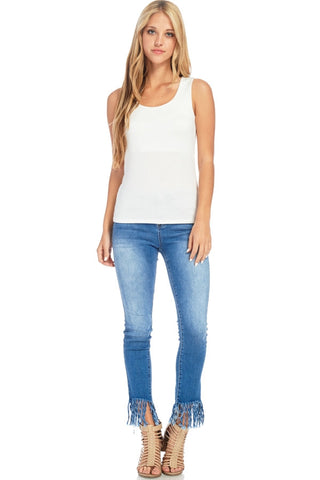 Plus Size Double Layered White Tank Top