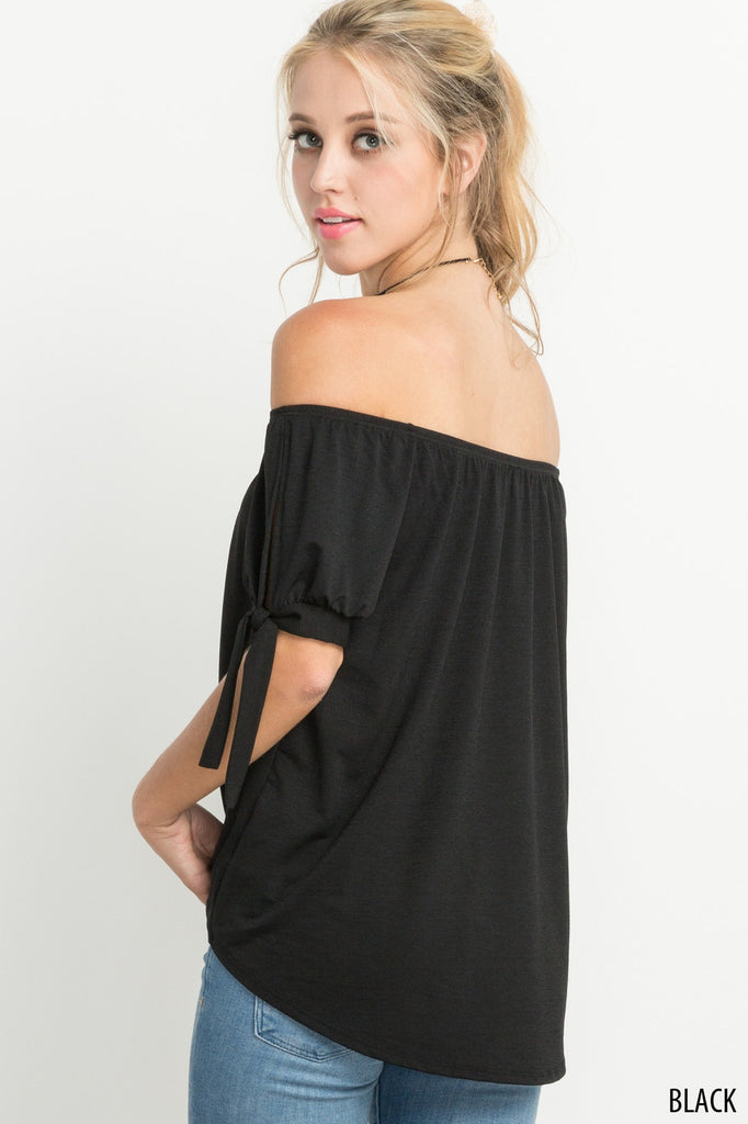 Black self tie sleeved off the shoulder top.