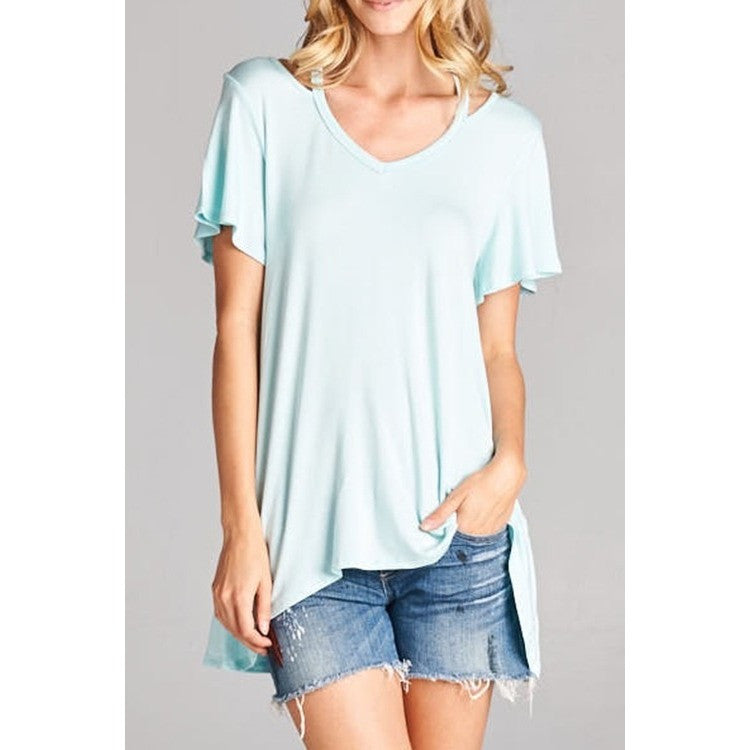 Open Neck Aqua Top. Solid Short Sleeve Top.