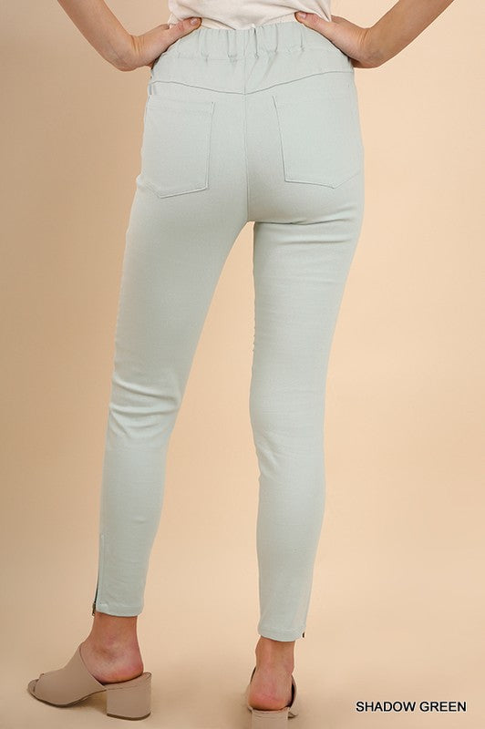 Washed Moto Jeggings with Pintuck and Zipper Detail