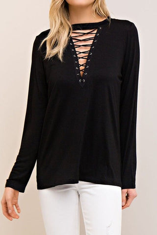 Black Long Sleeve Solid Lace Up Top