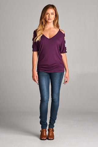 Purple Rectangle Sleeve Cutout Top