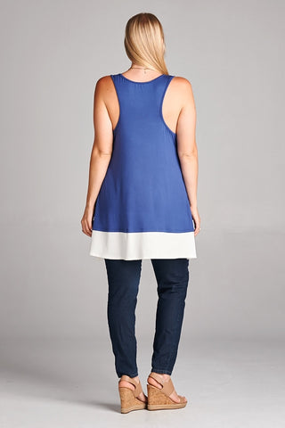 Denim Blue Sleeveless Tunic Top - Plus