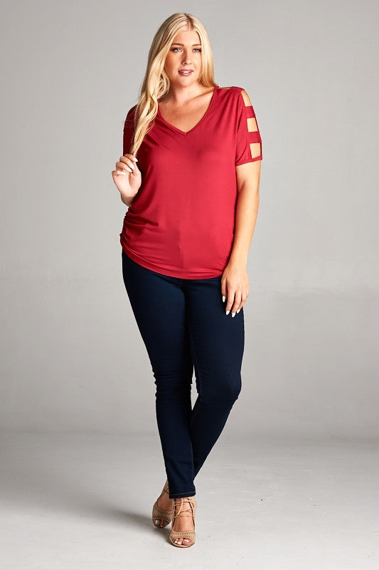 Red Cutout Sleeve Top. Plus size.
