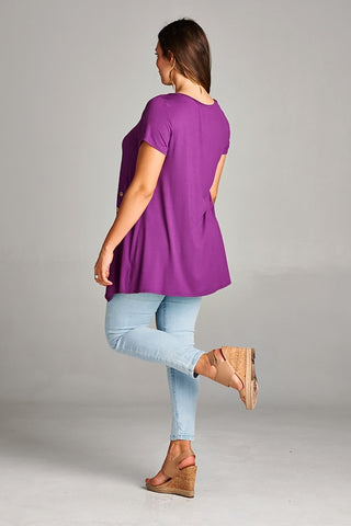 Purple Side Button Tunic Top - Plus Size