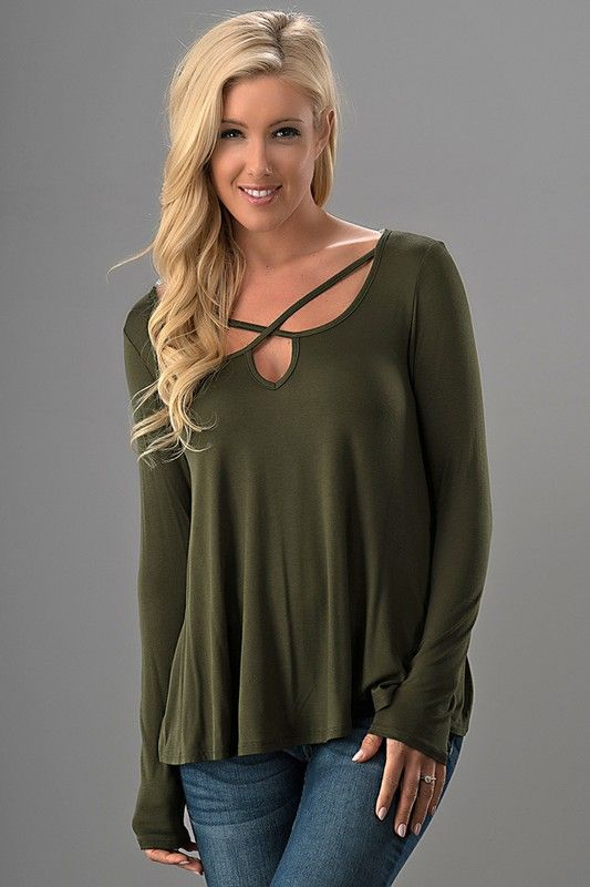 Long Sleeve Olive Knit Tee with Criss Cross Neck