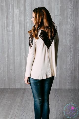 Long sleeve Ivory & Black Lace Top