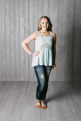 Lace Mint Tank Top