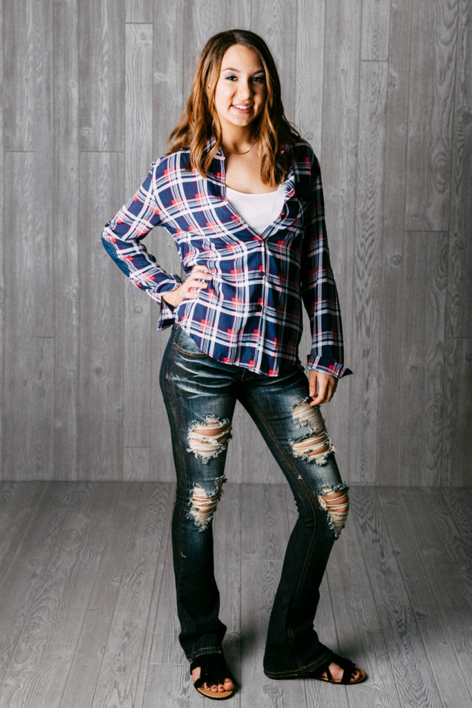 Woven plaid button down top.