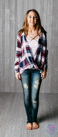Plum Plaid Print Top