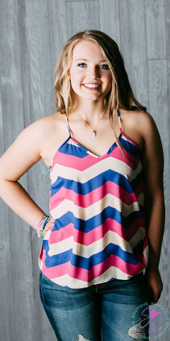 Pink and Blue Chevron Tank Top