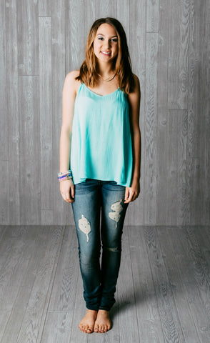 Mint Tank Top with ivory bow. 100% polyester