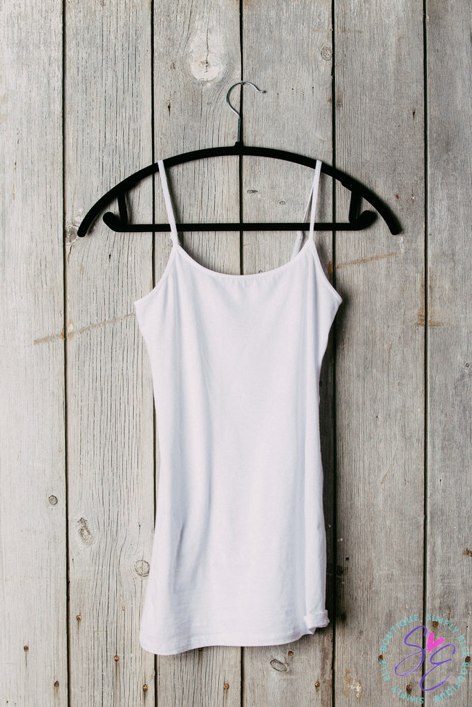 Extra Long basic tank top. Great for layering. Added support with built-in bra.