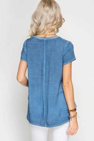 Laced Blue Mineral Washed Top